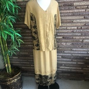 Vintage Boho Gold Embroidered Top and Maxi Skirt